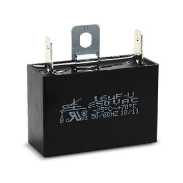 Motor Run Capacitor with 187 male fast-on terminals and Mounting Metal Plates on Top of Case