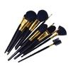 Newest 12pcs black wooden handle cosmetic makeup brush set