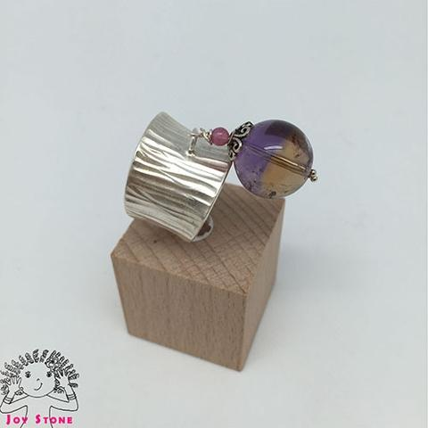 [925 Silver Ametrine] Wood Grain Ring Adjustable 3
