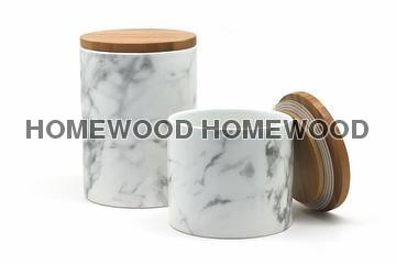 Taiwan Ceramic Canister With Bamboo Lid Marble Effect