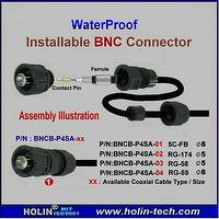 Waterproof Coaxial BNC Connector used for CCTV Coaxial Cable