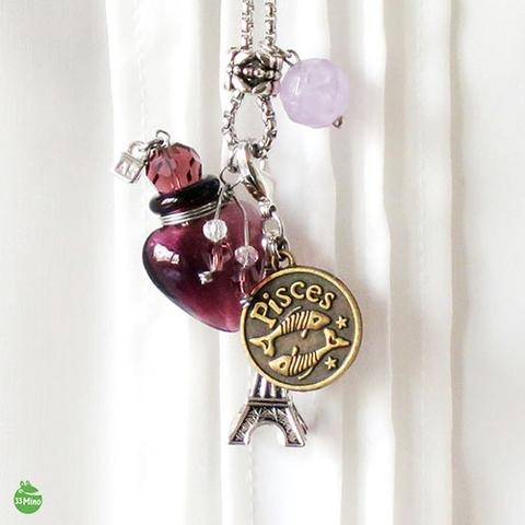 Constellation Necklace Art Glass Vial Stainless Steel Chain