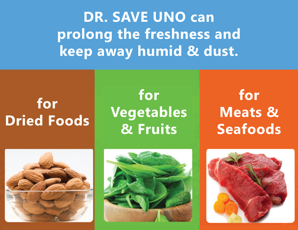 DR. SAVE UNO Handheld Vacuum Sealer can prolong the freshness and keep away humid & dust for dried foods, vegetables, fruits, meats and seafood.