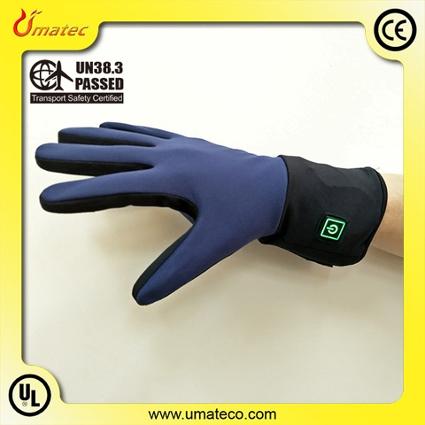 Heated liner gloves machine washable with 7.4V 5 finger heaters