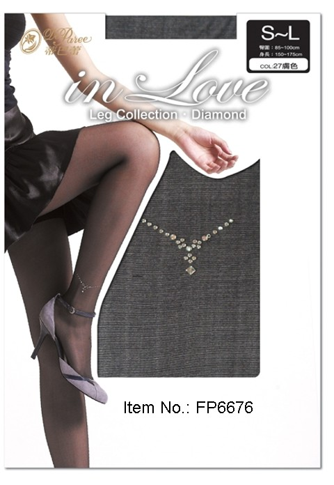Deparee Sheer Pantyhose with Rhinestone Charm Pattern