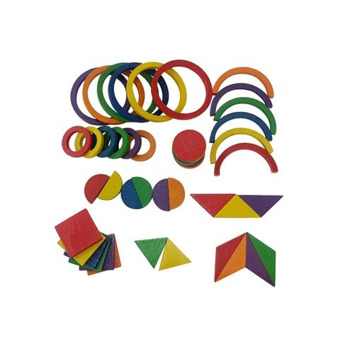 5mm, 6 Colors 9 Shapes Wood Pattern Piece Blocks Set